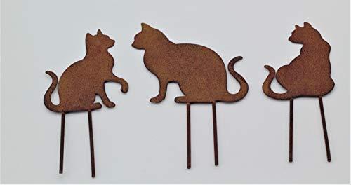PO Gartenstecker Katzen 3tlg. Set Minikatzen Stecker Rostoptik