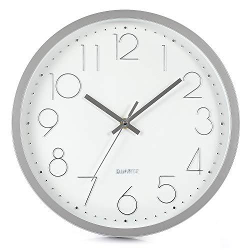 LENRUS 12 Zoll 30cm Modern Quartz Lautlos Wanduhr Schleichende Sekunde ohne Ticken (Silber)