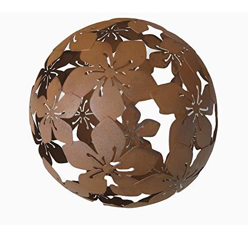 Kugel Dekokugel Gartenkugel *Blume* Metall Rost-Optik - D20cm
