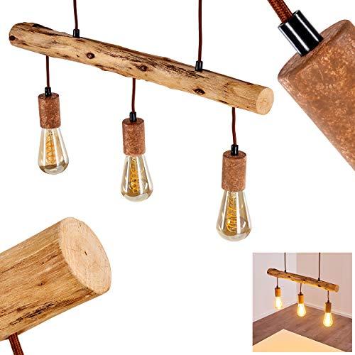 Pendelleuchte Gondo, Hängelampe aus Metall/Holz in Rost/Braun, 3-flammig, 3 x E27 max. 40 Watt, moderne Hängeleuchte geeignet für LED Leuchtmittel