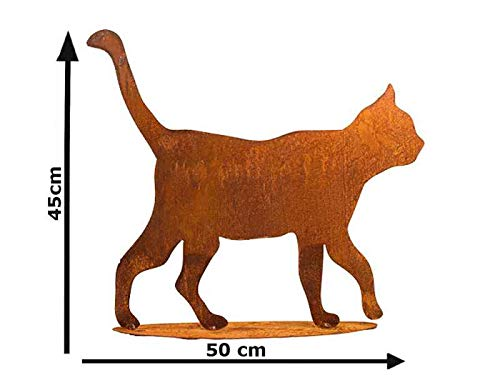 itsisa ® Dekofigur Katze gehend mit Platte im Rost Design, Rostfigur für den Garten, Gartendeko, Metalldeko