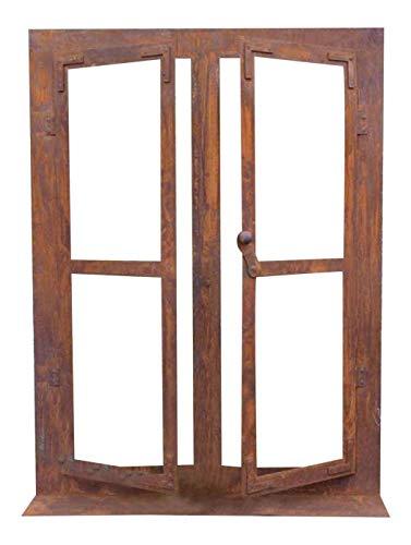 Deko-Fenster 80 x 60 cm zum Öffnen auf Platte Edelrost Rost Metall + Original Pflegeanleitung von Steinfigurenwelt