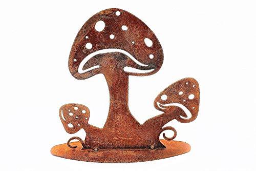 Rostikal   Edelrost Schwammerl, Rost Pilze auf Bodenplatte   Metall Herbstdeko   15 cm hoch