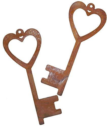 Rostikal   Edelrost Schlüssel zum Herz   Deko Hänger aus Metall zum Aufhängen   2 STK. mit 15 cm