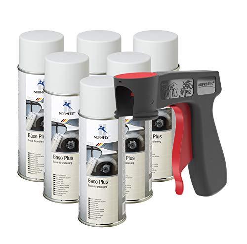 AUPROTEC Grundierung Haftgrund Füller Baso+ Lack Rostschutzgrundierung Spray grau 6X 400ml + 1x Original Pistolengriff