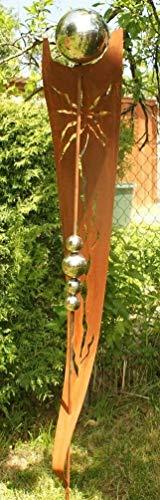 Rost Garten Gartendeko Rost Stecker Rostsaeulen mit 5 Edelstahlkugeln