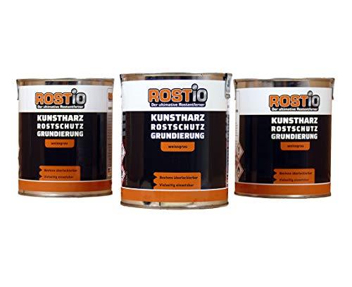 Rostio 3 x Rostschutzgrundierung | Kunstharz Rostschutzfarbe weißgrau | Rostschutz & Korrosionsschutz 3er Set