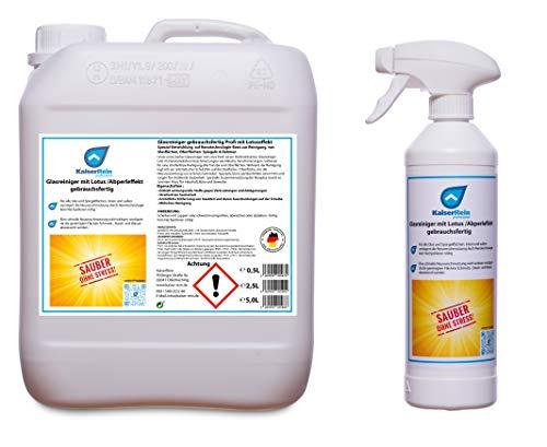 KaiserRein Glasreiniger mit Lotus- (Abperl-) Effekt gebrauchsfertig Spray 0,5L Leerflasche + 5 L Nachfüll Kanister Reiniger für alle Glas und Oberflächen
