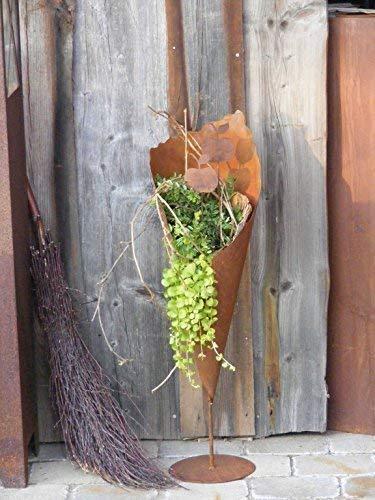 Rostikal | Pflanztüte für Garten auf Stab mit Bodenplatte | Metall Rostoptik in Edelrost | 80 cm hoch