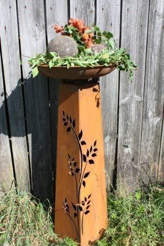 Rostikal   Rost Dekosäule Rosali mit runder Pflanzschale 47 cm   perfekt für den Balkon oder Gartendeko   Höhe 110