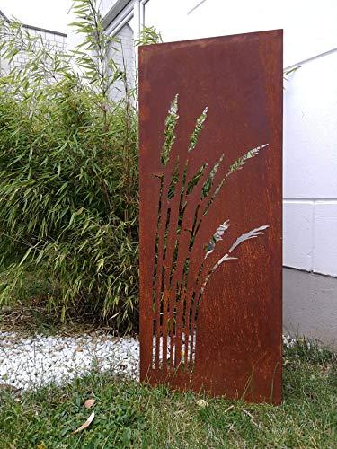 Zen Man Edelrost Garten Sichtschutz aus Metall 1mm Rost Gartenzaun Gartendeko edelrost Sichtschutzwand H125*50cm 031912