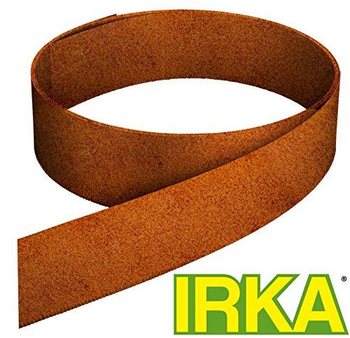 IRKA Rasenkantenband aus Corten Stahl 20 cm hoch Rasenkante mit Versteifungskante Beeteinfassung 15 Meter