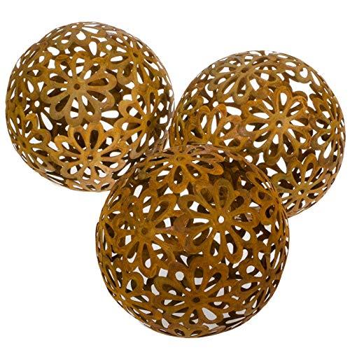 SIDCO Dekokugel Rost 3 Stück Gartenkugel Edelrost Gartendeko Metall Kugeln Blumen