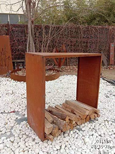 Zen Man Kaminholzregal Garten Rost Kaminholzunterstand Rost holzregal Kaminholz Rost Metall 1,2mm 17kg 35 * 125*H125cm 031998
