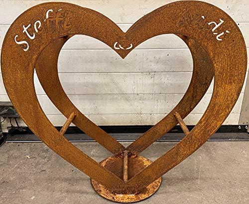Herz aus Metall - Holz-Regal - Edel-Rost - Garten Terrasse Deko - Größe S 57 cm