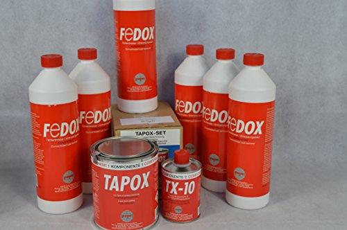 Set 2 X Fertan Tapox Tank-Innenbeschichtung & 6 X Fedox Tankentroster a 1 Liter Tanksanierung