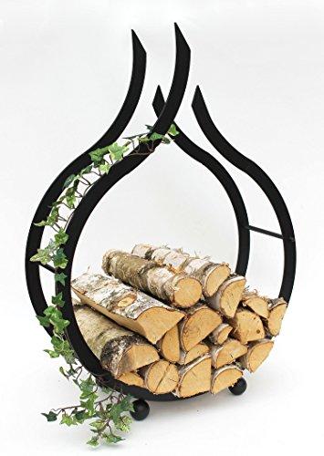 DanDiBo Kaminholzregal Innen Schwarz Kaminholzständer Flamme 78 cm Holzkorb Kaminholzhalter Feuerholzregal Holzregal