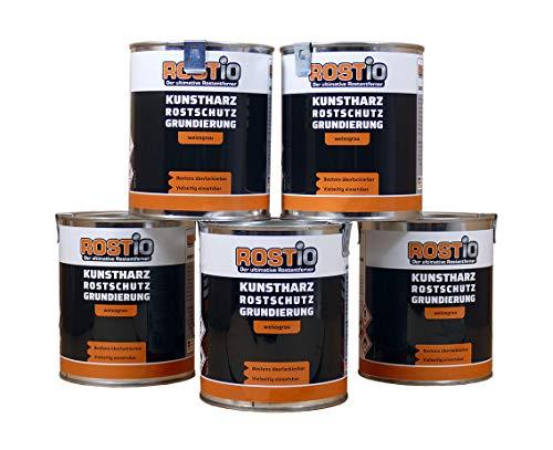 Rostio 5 x Rostschutzgrundierung | Kunstharz Rostschutzfarbe weißgrau | Rostschutz & Korrosionsschutz 6er Set