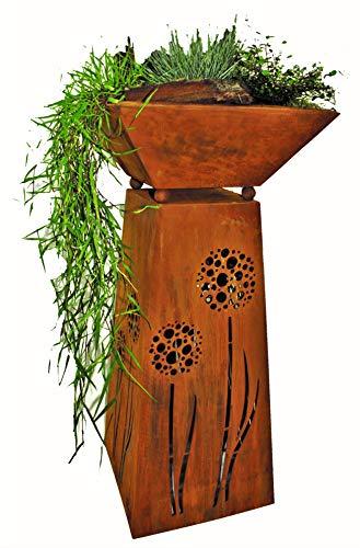 Rostikal | Deko Säule mit Pusteblume und Pflanzschale | Rost Metall Gartendeko für draussen und drinnen | Höhe 72 cm Breite 35 x 35 cm