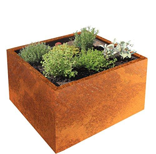 Palatino Exclusive Line Hochbeet/Pflanzkübel Clara aus Corten-Stahl 80 x 80, Tiefe 50 cm, Modular