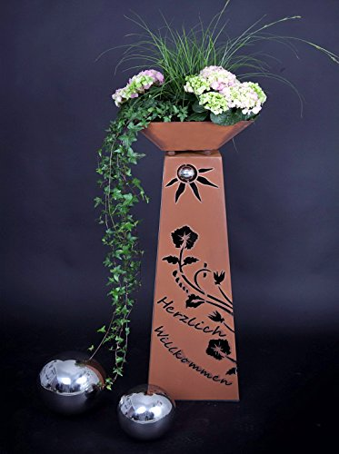 Jabo Design Rost Säule + Schale RS102+S11 Säulen konisch Herzlich Willkommen Gartensäulen Säulen Deko Blumen