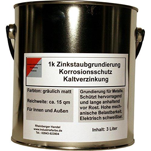 Zinkstaubfarbe, Zinkstaubgrundierung, Kaltverzinkung, grau, 3 Liter (= ca. 8,1 kg)