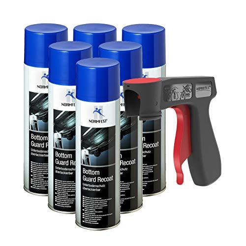 AUPROTEC Unterbodenschutz überlackierbar Bottom Guard Recoat Spray 6X 500ml + 1x Original Pistolengriff