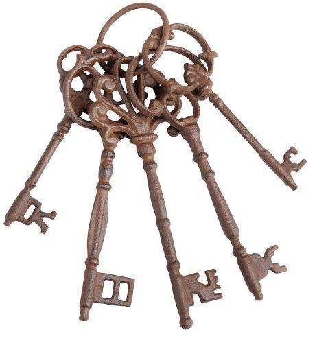 Esschert Design Schlüsselbund mit fünf Schlüsseln aus rötlichem Gusseisen, groß, ca. 6,5 cm x 8 cm x 24,5 cm