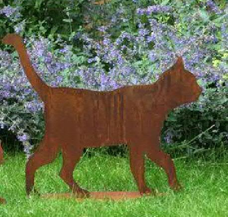 Rost - Katze auf Platte - Höhe 50cm - Indoor & Outdoor - Rostdeko - Rostfigur