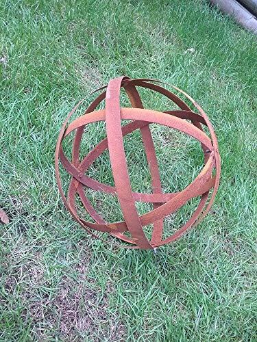 Zen Man Edelrost Gartenkugel aus Metall Rost Gartendeko Garten Dekokugel Rost (D=30cm)